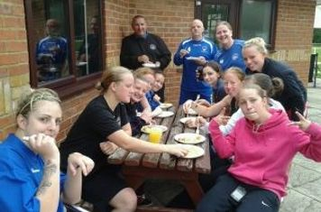 Oxford City Ladies First Team relaxing after 1-1 draw away to Andover.