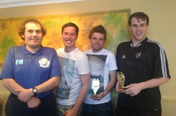 The Three joint winners of the Supporters Player Award, Phil Hawes, Karl Dickens, Adam Bray and Julian Hawes
