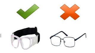 Can you wear glasses when playing football?