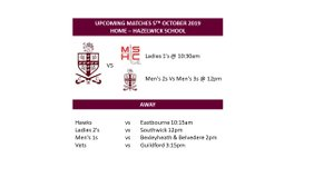 Saturday 5th October Fixtures - Come and support the Ladies 1's at 10:30am