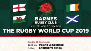 Rugby World Cup games showing at Barnes RFC Head Quarters!