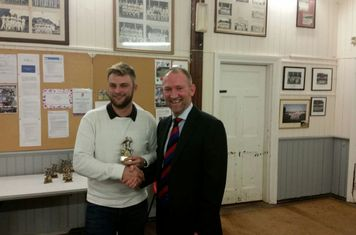 Chairman Glen Auckett with Lewis Bone - 2017 3rd Team Bowling Award
