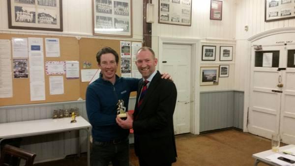 Chairman Glen Auckett with Tom Harvey - 2017 1st Team Bowling Award