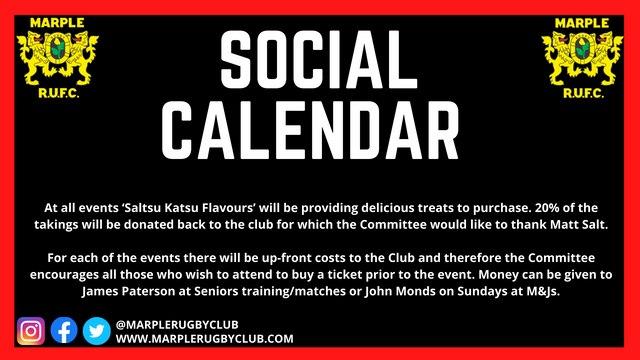 CLUB SOCIAL CALENDAR FOR 2021-22 SEASON
