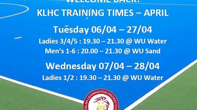 KLHC Return to Training