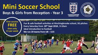 Mini Soccer School kicks off  Saturday 29th September 2018