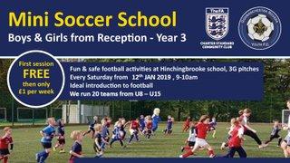 Mini Soccer School opens again Saturday 12th January 2019