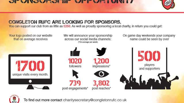 Congleton RUFC are looking for Sponsors
