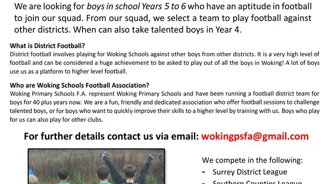 WOKING DISTRICT FOOTBALL - BOYS