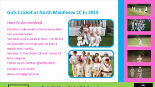 Girls Cricket at North Midd in 2015