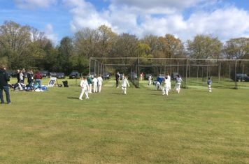 The bowlers queuing at the nets