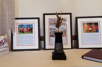 The Caley Trophy (2nd team are the current holders)  surrounded  recent Caley & Lishman Cup teams