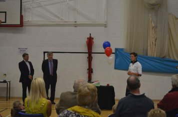 No penalty flick to mark the official opening so it's indoor  to the Sports Hall for speeches.... and cake!