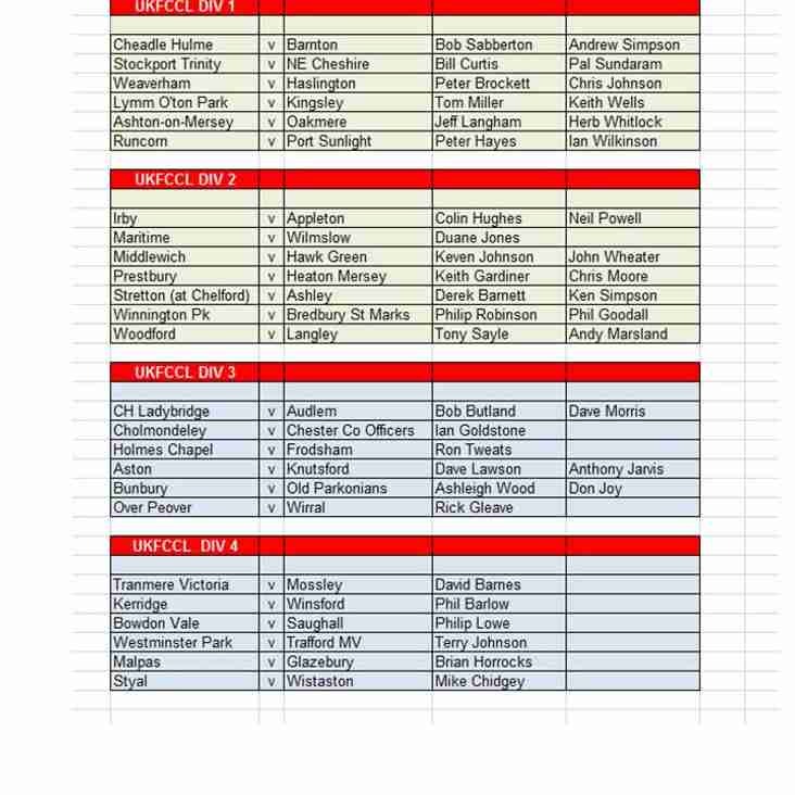Umpire Appointments 24 August