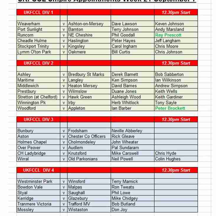 Umpire Appointments 7 September