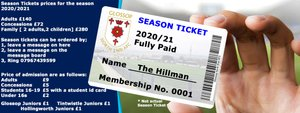 Admission and Season Tickets Prices for 2020/21
