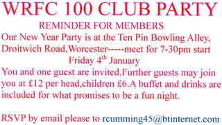NOTICE FOR ALL WRFC 100 CLUB MEMBERS
