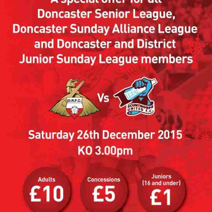 Boxing Day Offer For Rovers v Scunthorpe Utd For All Local Football Clubs