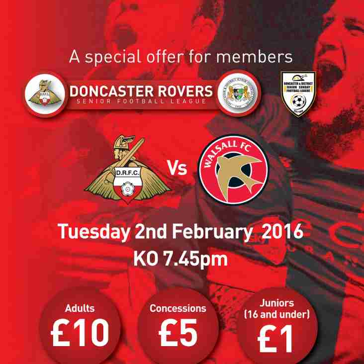 Offer For Rovers v Walsall For All Local Football Clubs