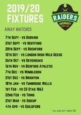 Guernsey Raiders 2019/20 Away Fixtures