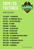 Guernsey Raiders 2019/20 Home Fixtures