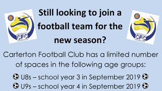 Limited no. of spaces available in the new U8s and U9s teams for season 2019-20