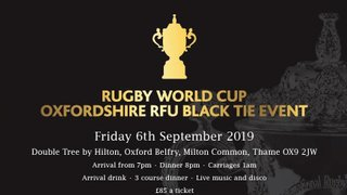 Rugby World Cup Oxfordshire RFU Black Tie Event