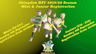 Mini & Juniors 2019/20 Registration