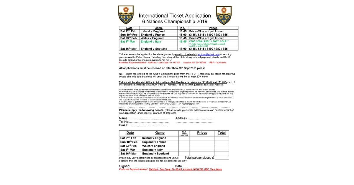 6 Nations 2019 Ticket Application with revised prices Eng v