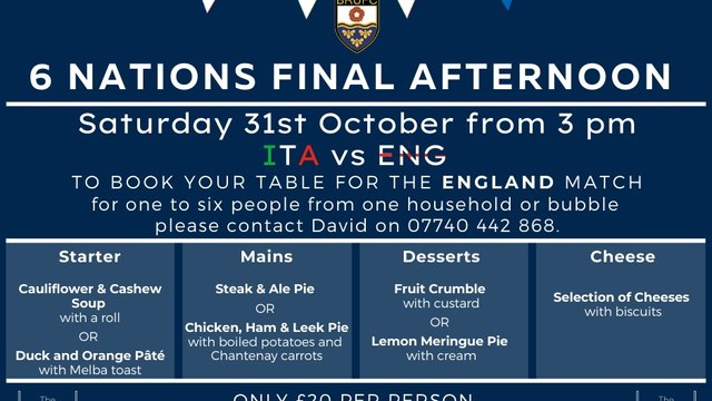 BRUFC 6 Nations - Saturday 31st October 2020 Italy v England