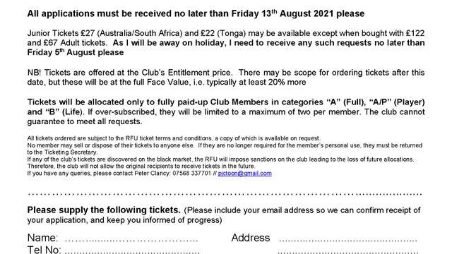International Ticket Application Autumn Internationals 2021 with BRUFC New Season Membership