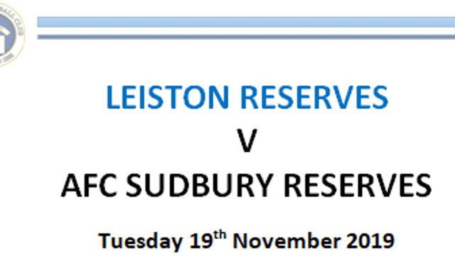 AFC Sudbury Reserves Programme