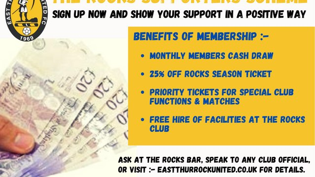 ROCKS SUPPORTERS SCHEME  -  SUPPORT YOUR CLUB  -  JULY CASH DRAW WINNERS.