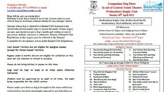 FUN COMPANION DOG SHOW 28TH APRIL AT WRUFC!!