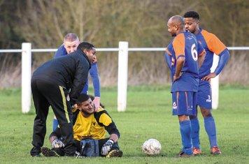 Ragban Ali of Barnt Green Spartak (sitting) - courtesy of Alex Bradbury & The Droitwich Standard