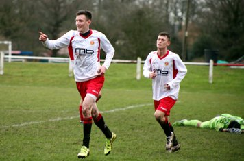 Lemon & Macaulay Finch celebrate with the away fans vs Hampton - courtsedy of Marie Myers & Droitwich Standard