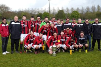 Droitwich Spa celebrate with the Worcestershire Junior Cup after defeating Worcester Raiders 3-2