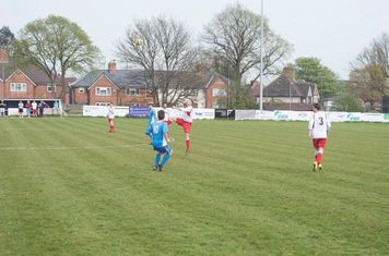 Andy Crowther wins a header vs Rostance Edwards (A) - Photo Coutesy of Zara Dowthwaite Photography