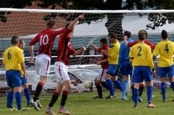 Matt Hunt scores the Saltmen's 5th v Fairfield - courtesy of Jonathan Holloway