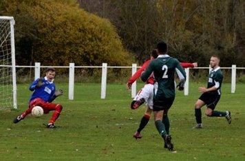 Luke Molloy scoring Spa's 4th v Sutton United - photo courtesy of Jonathan Holloway