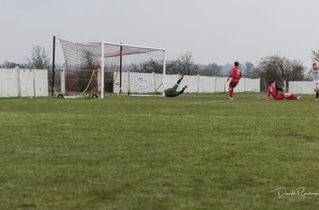 Louis Bridges (far right) reels away after scoring the winning goal v Coton Green (A) photo courtesy of David Rawlings