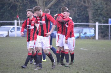 Macauley Finch is congratulated after scoring Spa's 3rd goal v Smithswood Firs - Photo's courtesy of Smithswood Firs FC