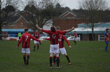 Seabourne celebrates his hat-trick v Barnt Green Spartak - photo courtesy of Owen Morris