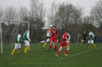 Jack Allerton connects with this header v Leamington Hibernian (A) - photo courtesy of Chris Hutchings