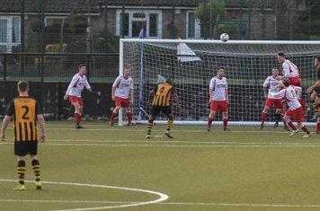 Spa defending a corner v Paget Rangers (A) photo courtesy of David Rawlings
