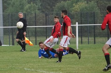Chris Glover (far left)  vs FC Stratford - courtesy of Mathew Mason