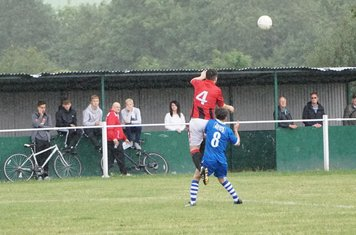 Matty Hunt wins the header  vs FC Stratford - courtesy of Mathew Mason