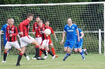 Jack Allerton lines up a shot  vs FC Stratford - courtesy of Mathew Mason