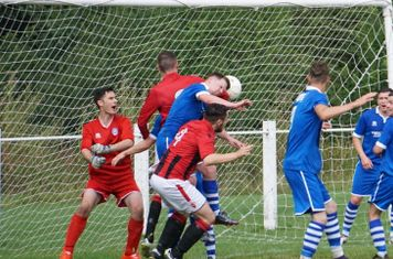 Lemon gets a header in  vs FC Stratford - courtesy of Mathew Mason