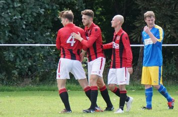 (L-R) Crisp, Allerton & Finch celebrate vs Inkberrow - courtesy of Mathew Mason